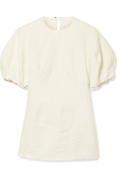 Beaufille Talos Open-Back Cotton-Blend Jacquard Top In Cream