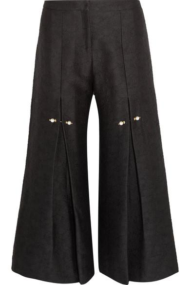 Mother Of Pearl Bennie Faux Pearl-Embellished Pleated Jacquard Wide-Leg Pants In Black