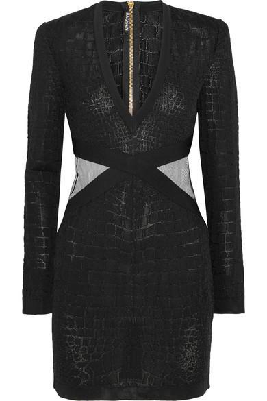 Balmain Mesh-Trimmed Croc-Effect Stretch-Knit Mini Dress