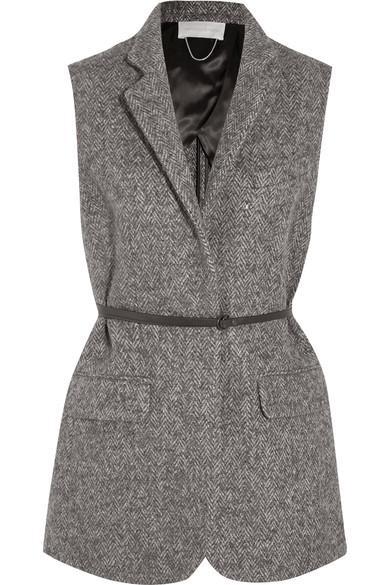 Vanessa Bruno Hirone Herringbone Wool, Alpaca And Silk-Blend Gilet In Gray