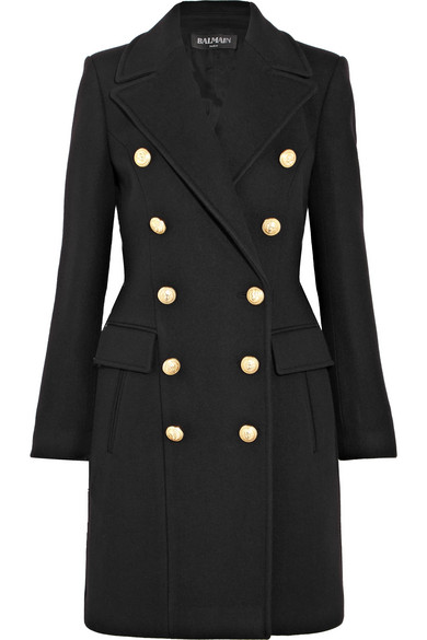 Balmain Double-Breasted Wool And Cashmere-Blend Coat In Llack