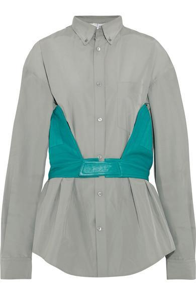 Balenciaga Cotton-Blend Poplin And Leather Shirt