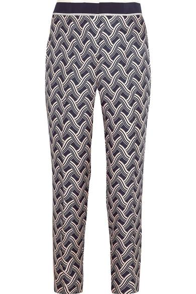 Victoria Victoria Beckham Printed Silk-Twill Tapered Pants In Navy