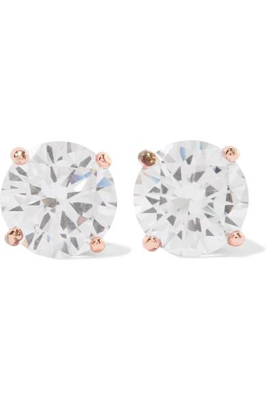 Kenneth Jay Lane Rhodium-Plated Cubic Zirconia Earrings In Rose Gold