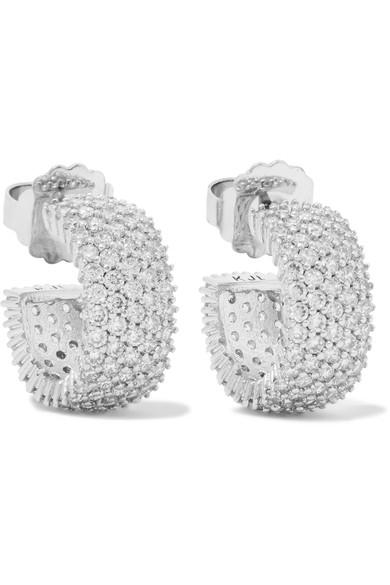 Kenneth Jay Lane Rhodium-Plated Cubic Zirconia Hoop Earrings In Silver