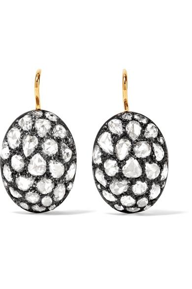 Fred Leighton Collection Sterling Silver, 18-Karat Gold And Diamond Earrings