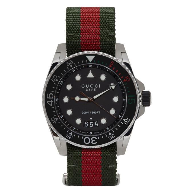 Gucci Silver & Green Xl Dive Watch