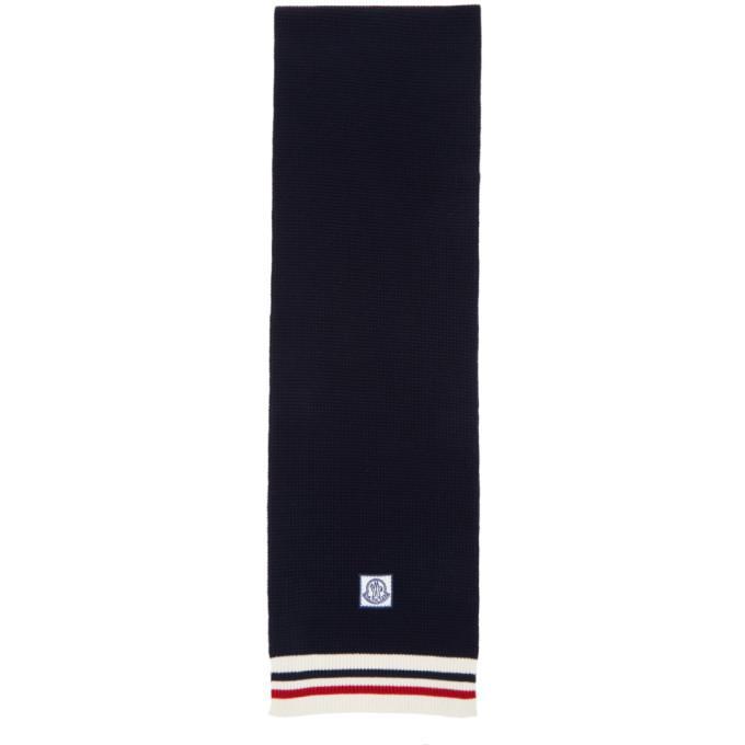 Moncler Gamme Bleu Navy Striped Scarf