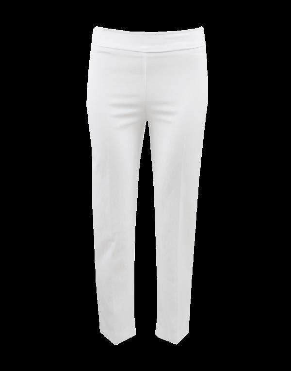 Avenue Montaigne Venezia Pull-On Ankle Slit Pant In White