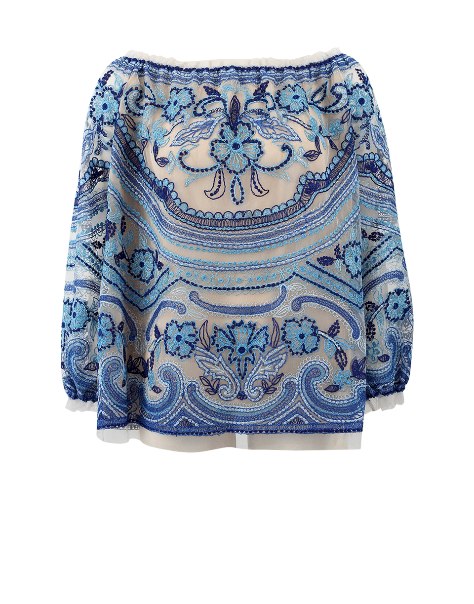 Naeem Khan Embroidered Blouse In Ivry-Blu