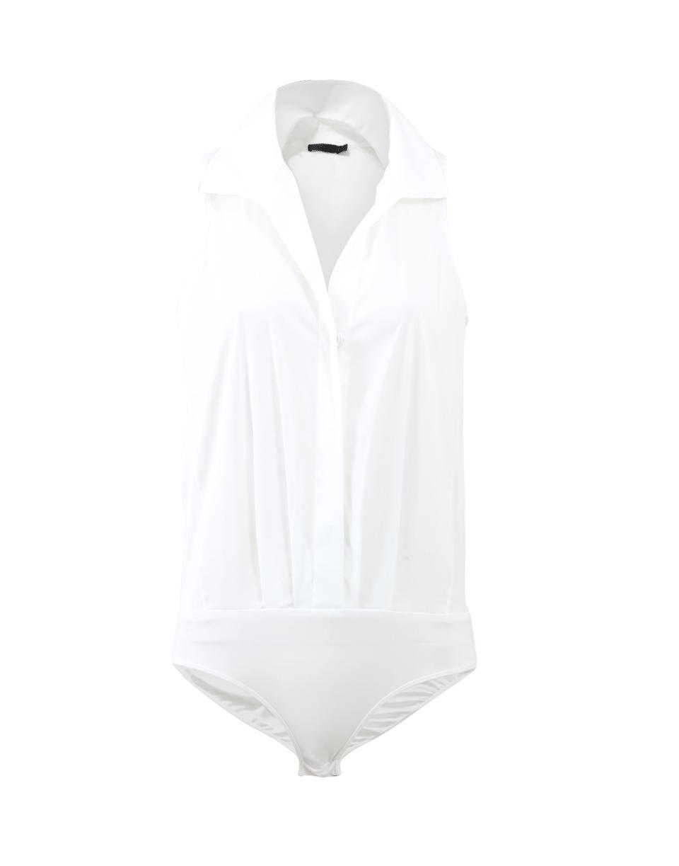 Donna Karan Cotton Stretch Bodysuit In White