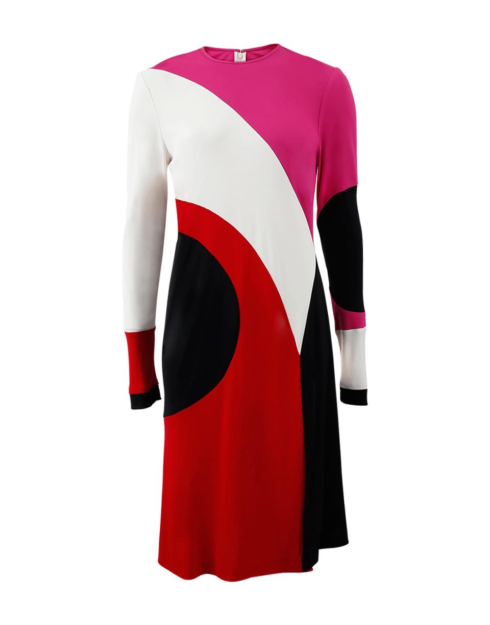 Naeem Khan Colorblock Front-Slit Long-Sleeve Dress, Multi Pattern In Ivry-Blk