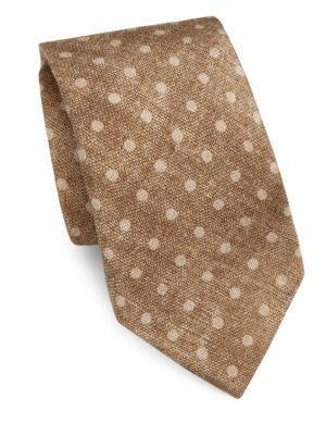 Isaia Dot-Print Silk & Wool Tie In Light Brown