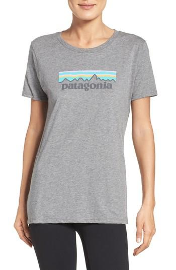 Patagonia P-6 Organic Cotton Tee In Gravel Heather