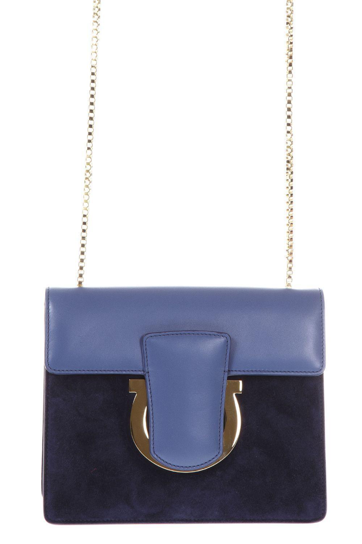 Salvatore Ferragamo Gancio Clutch Bag In Blue