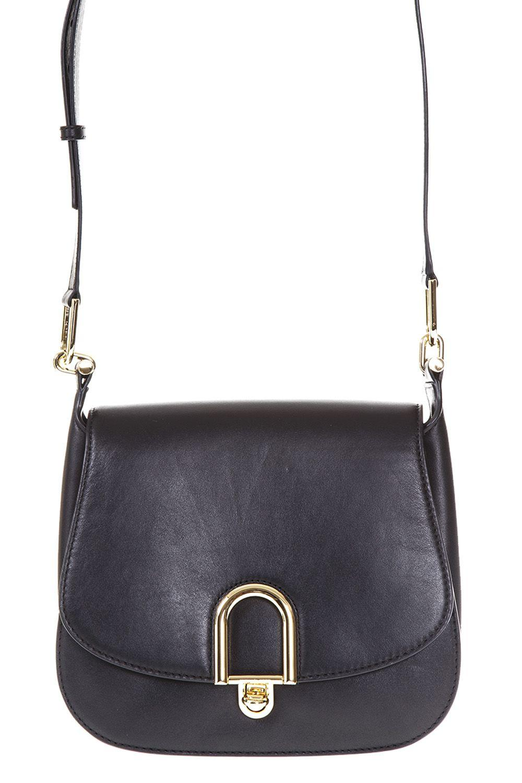 Michael Michael Kors Delfina Leather Saddle Bag In Black