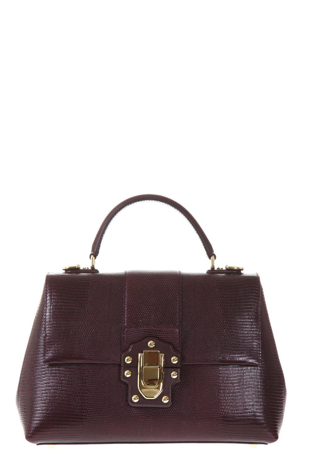 Dolce & Gabbana Lucia Printed Leather Bag In Wine