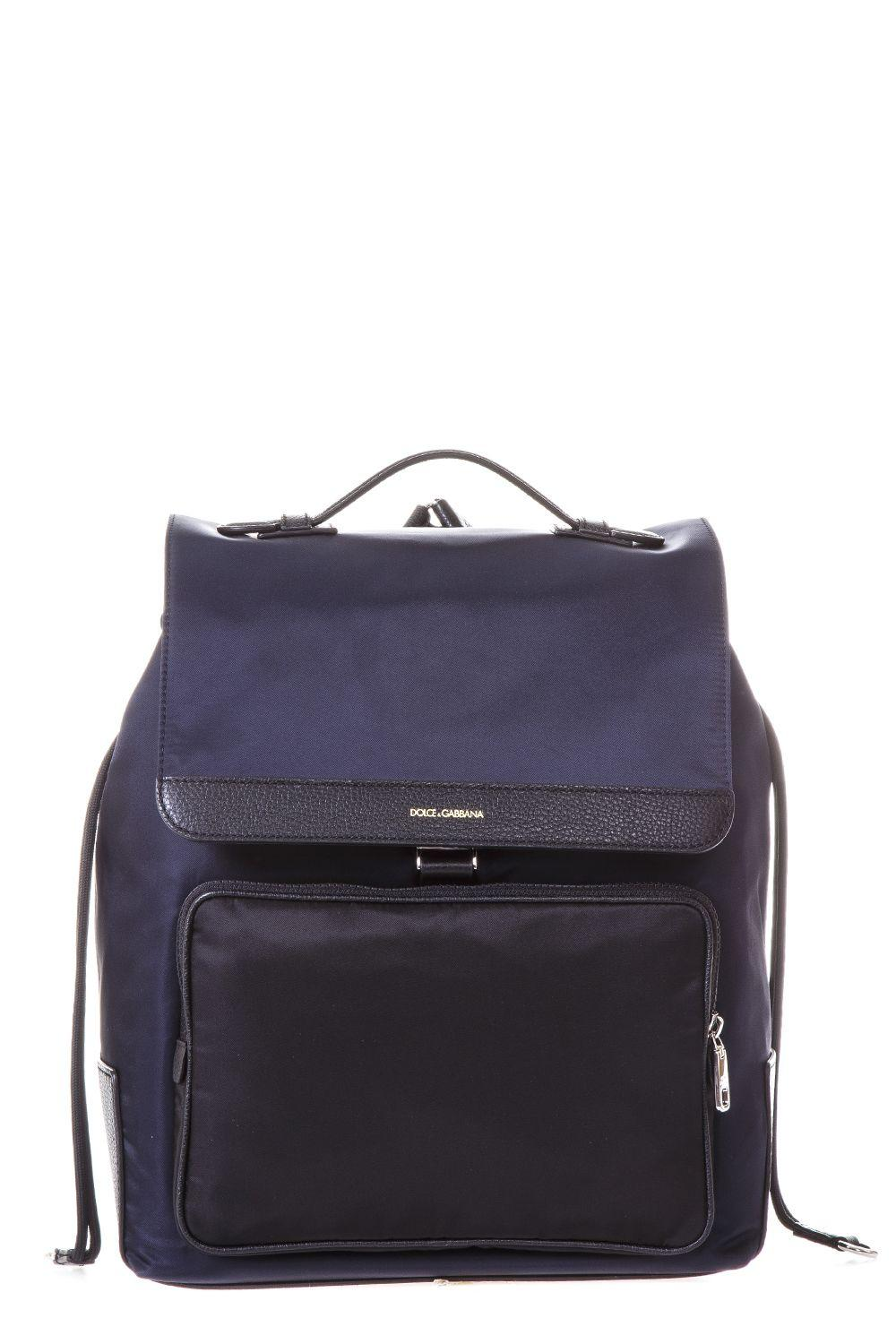 Dolce & Gabbana Squared Nylon Backpack In Blue-Black