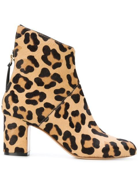 Francesco Russo Leopard Print Ankle Boots In Brown
