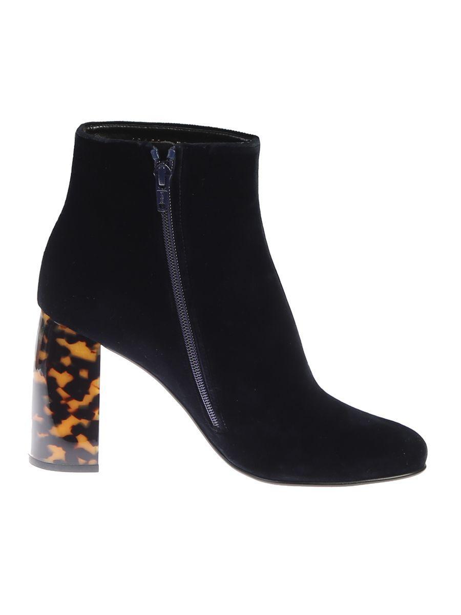 Stella Mccartney Velvet Ankle Boots In Black
