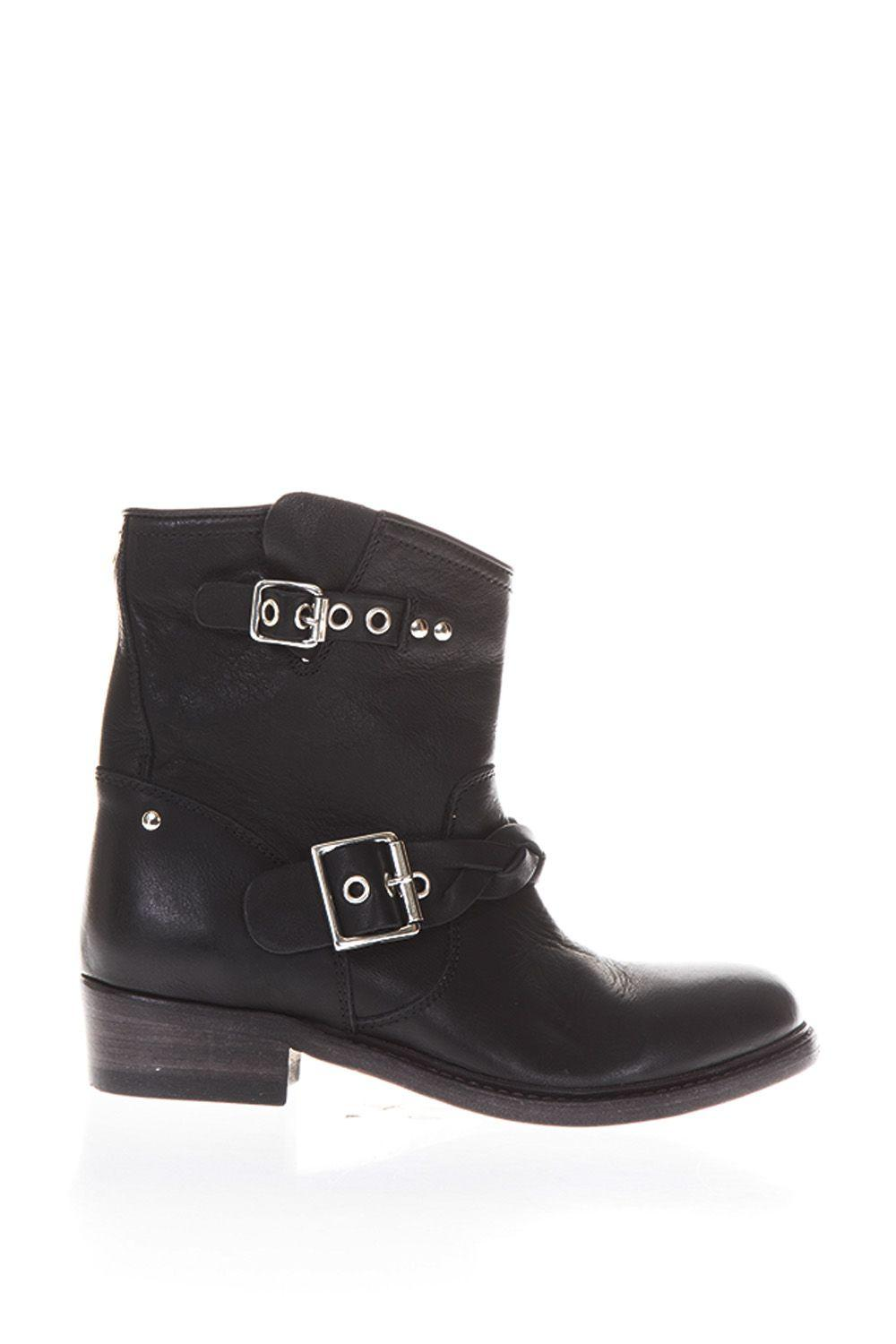 Golden Goose Buckle Leather Biker Boots In Black