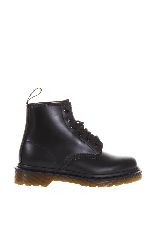 Dr. Martens 6 Eye Smooth Leather Biker Boots In Black
