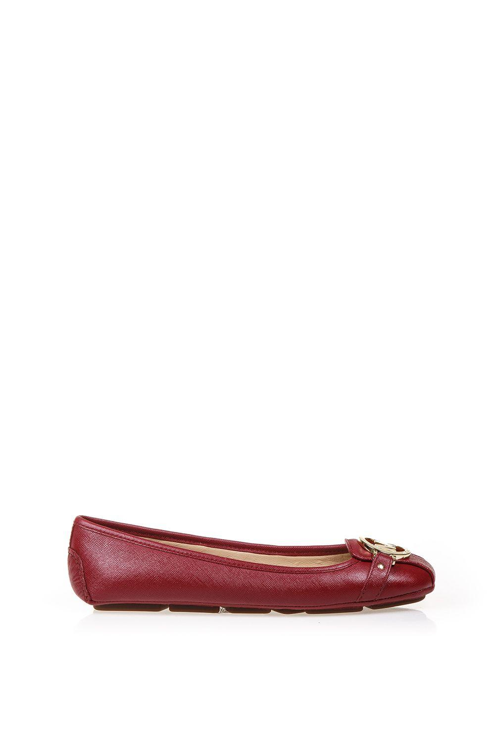 Michael Michael Kors Leather Ballerinas With Logo In Blood