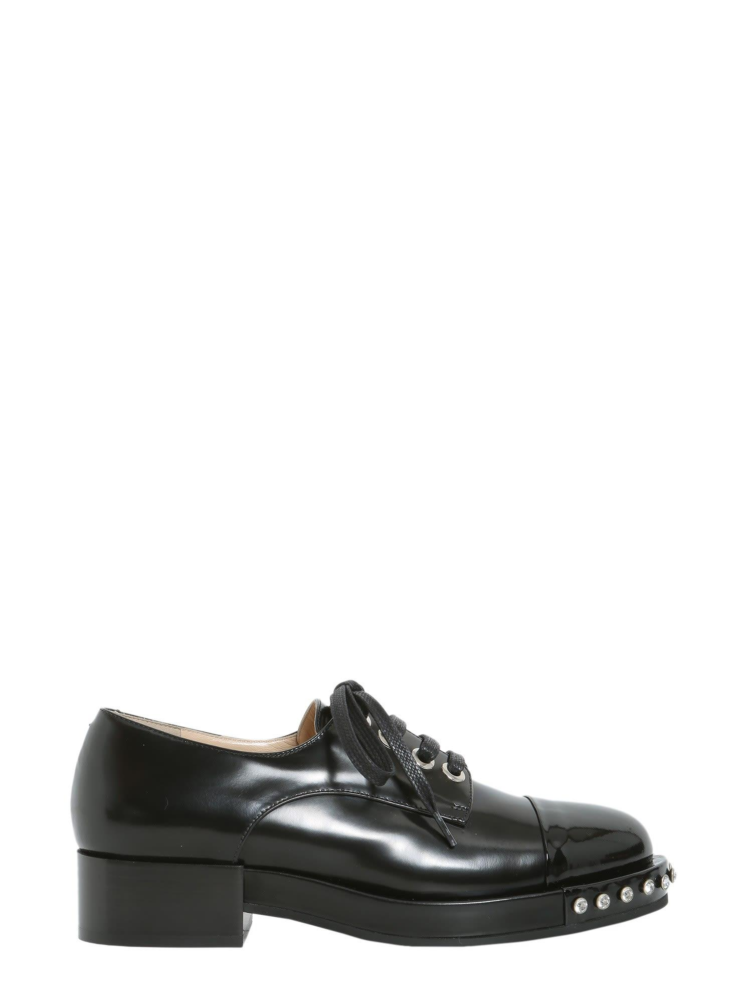 N°21 Leather Lace-Up Shoes In Nero