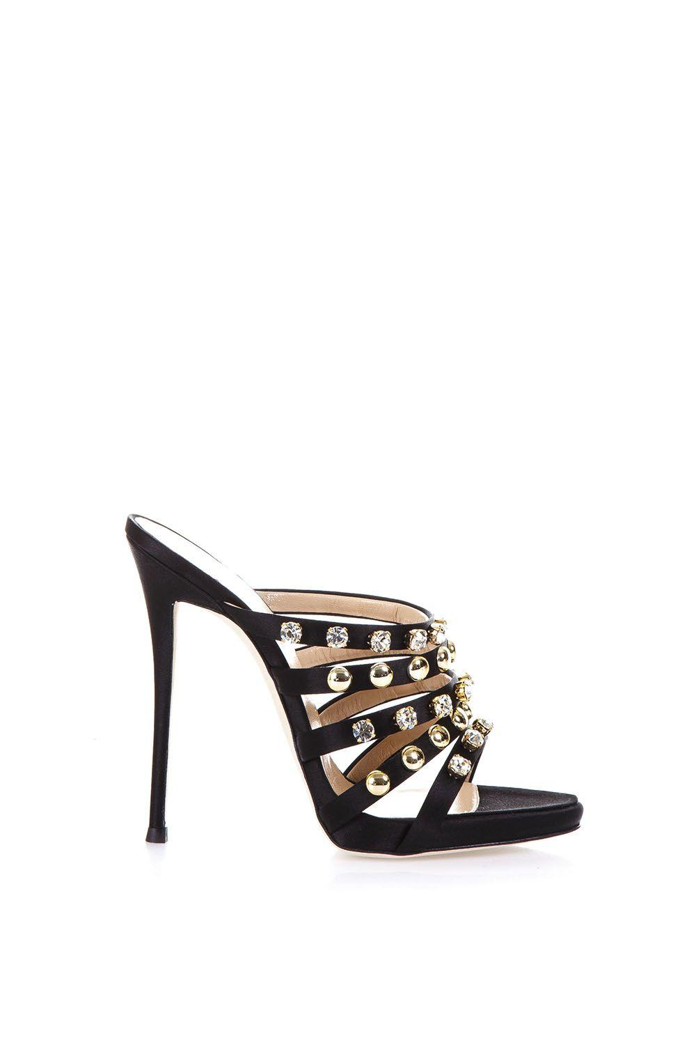 Giuseppe Zanotti Camilla Mules With Crystals And Studs In Black