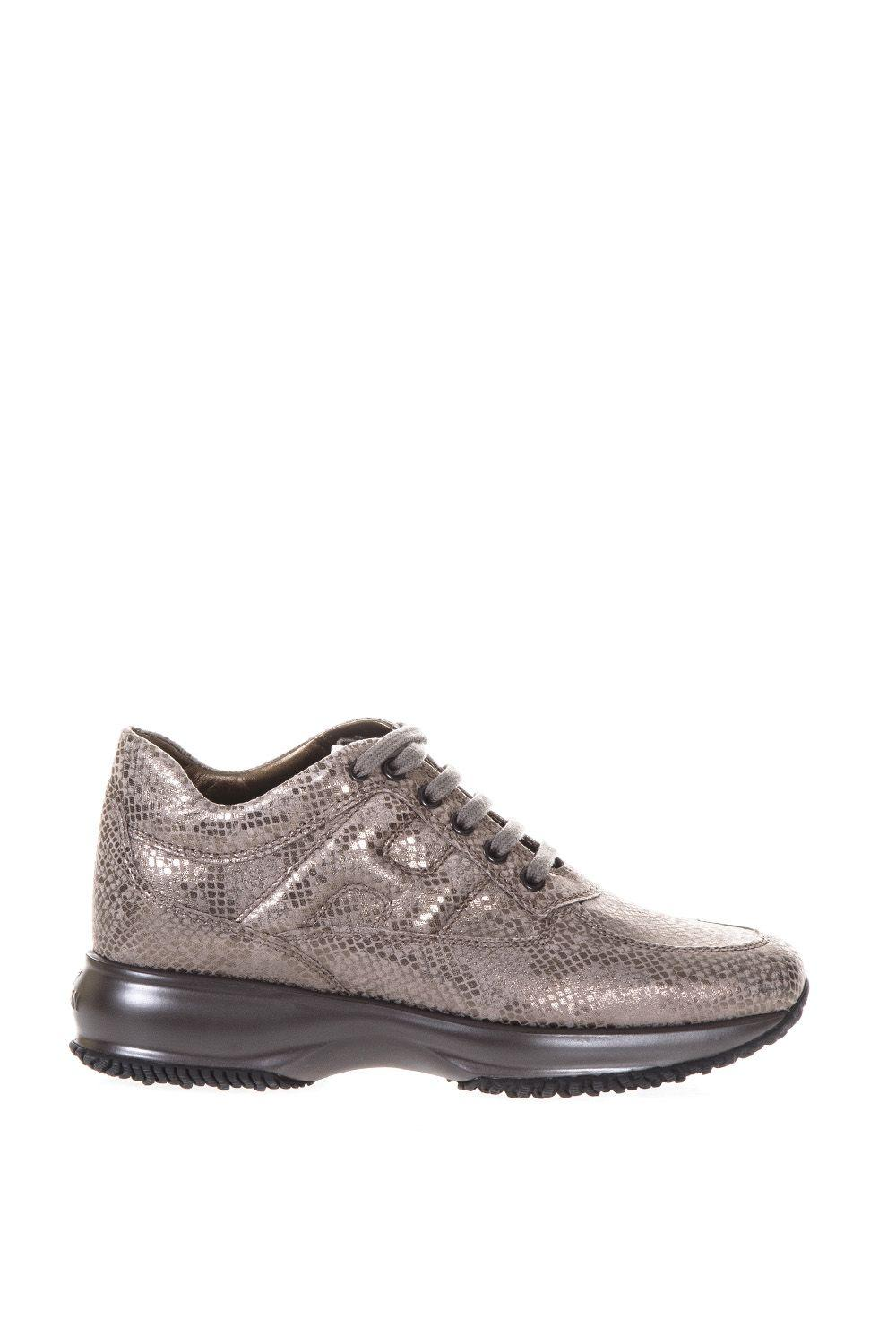 Hogan Reptile Effect Suede Shiny Interactive In Stone