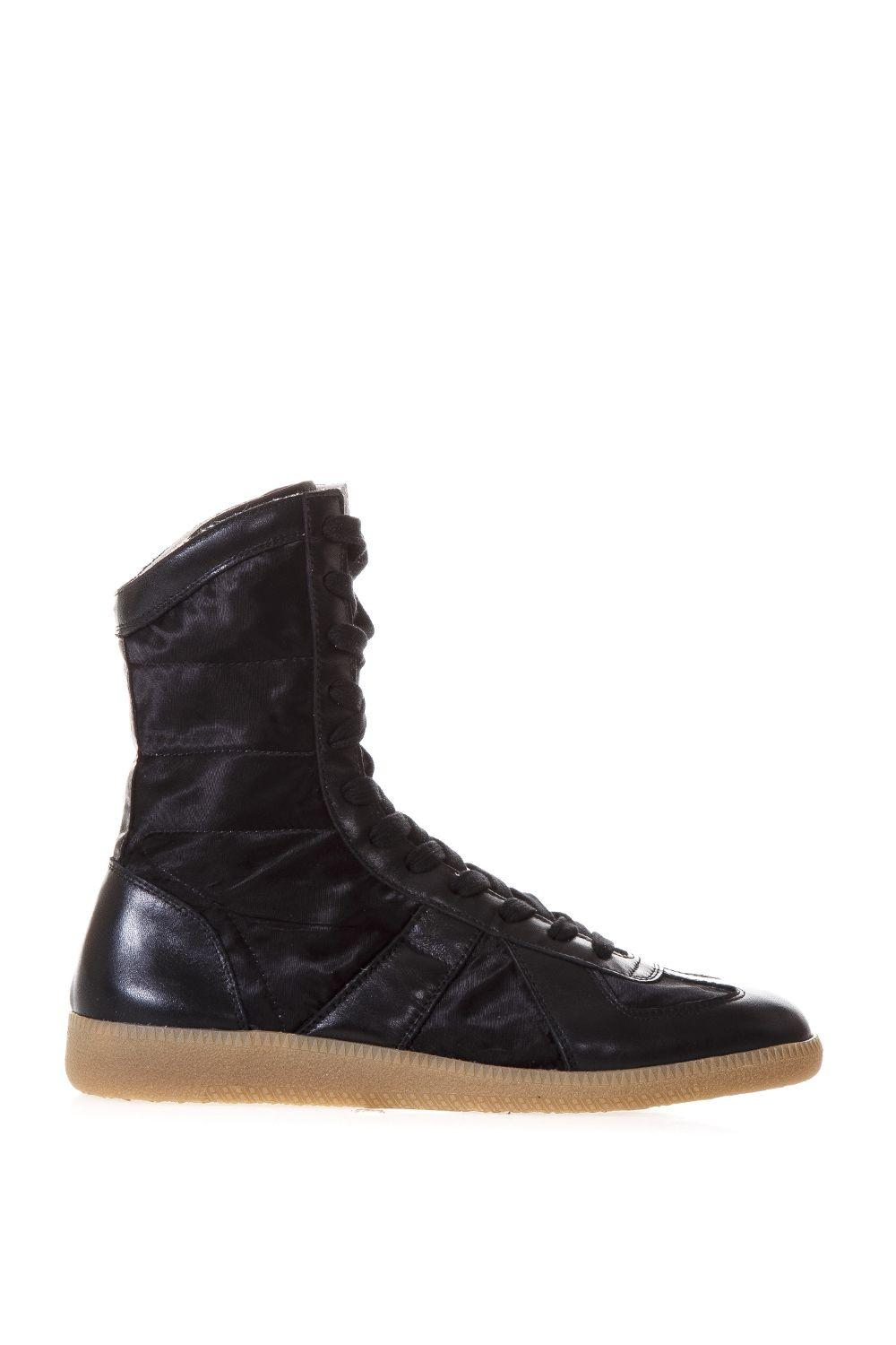 Maison Margiela Replica Boxing Satin & Leather High-Top Sneakers In Black