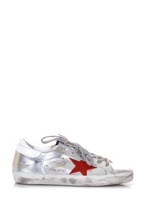 Golden Goose Superstar Metallic Leather Sneakers In Silver