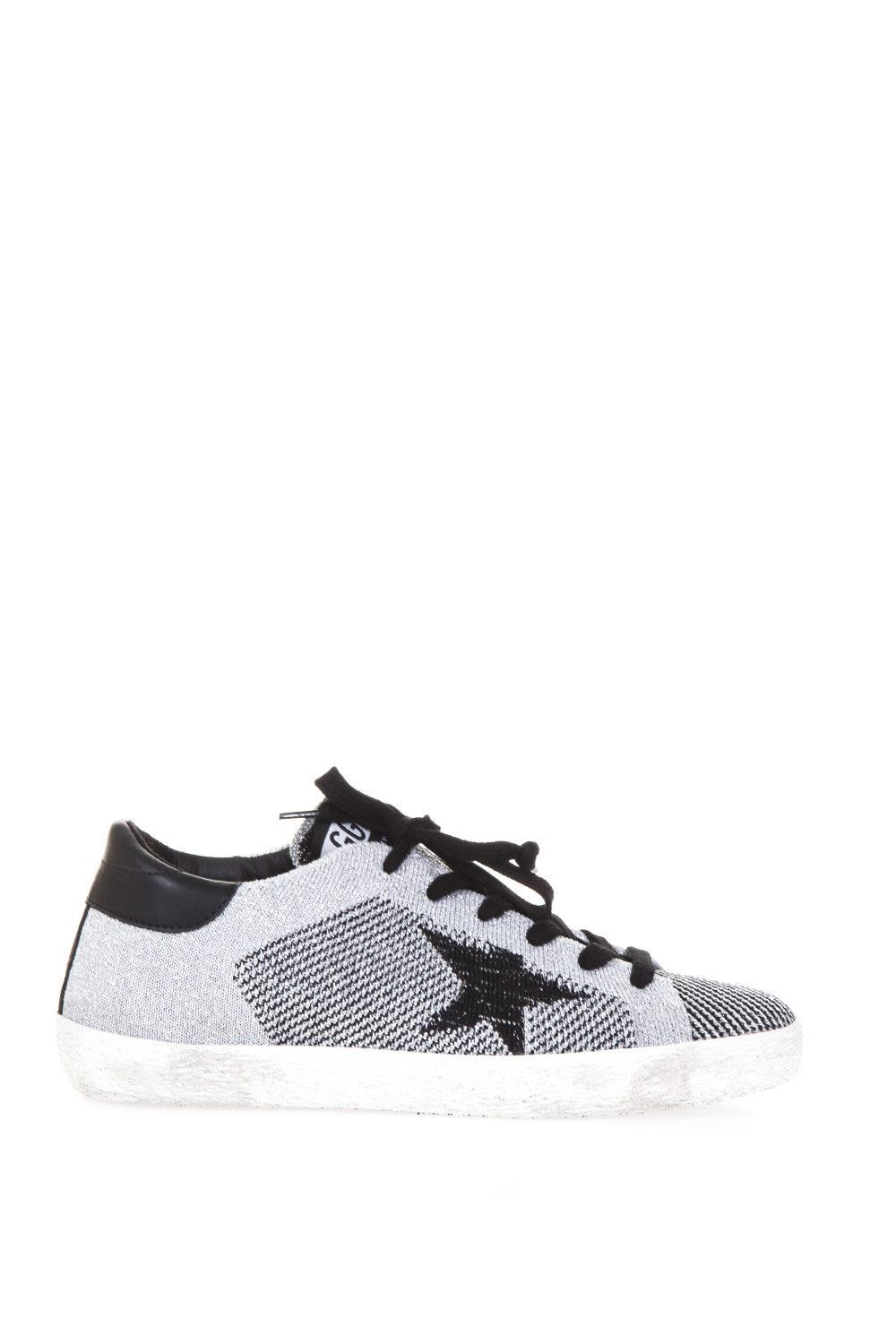 Golden Goose Superstar Knitted Glitter Sneakers In Silver Lurex Knitted