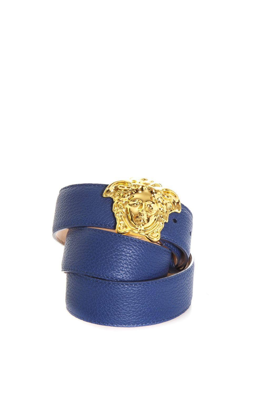 Versace Palazzo Calf Leather Belt In Blue-Gold