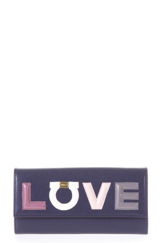 Salvatore Ferragamo Wallet Continental With Gancino Love In Blue