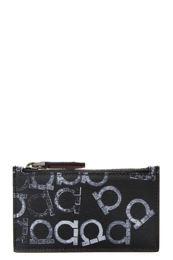 Salvatore Ferragamo Gancini Printed Wallet In Black-Grey