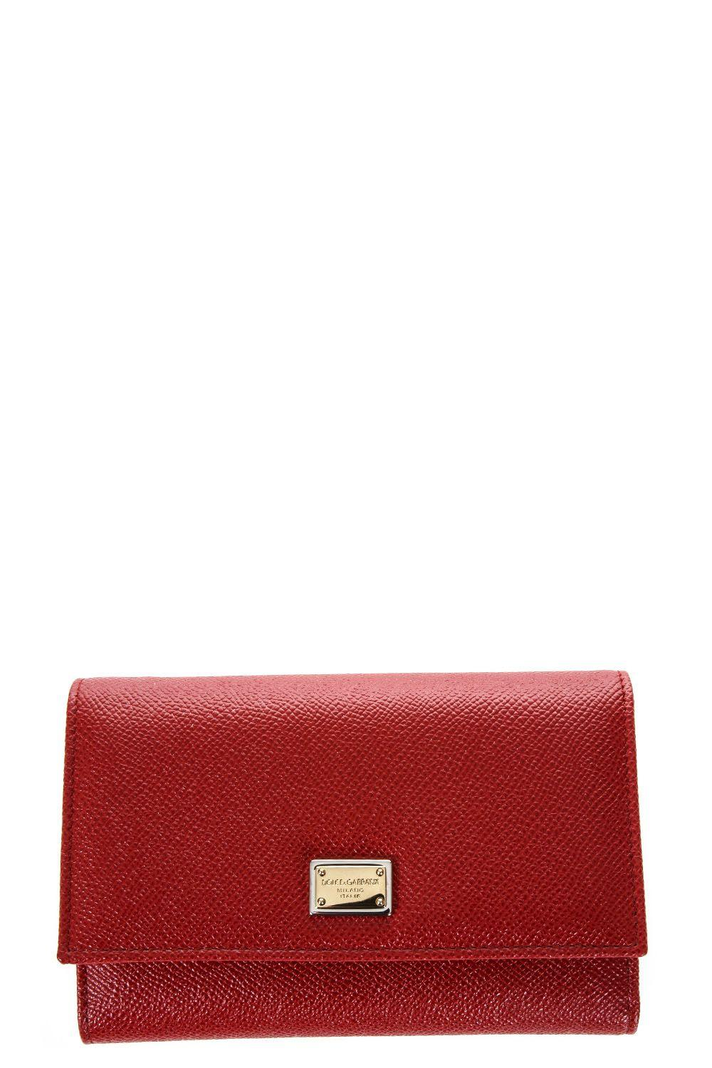 Dolce & Gabbana Leather Wallet With Logo Tag In Red