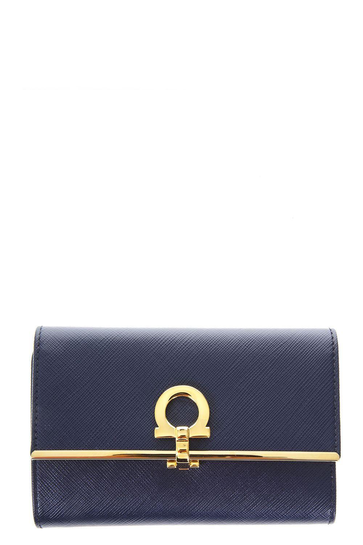 Salvatore Ferragamo Saffiano Leather Wallet In Oxford Blue