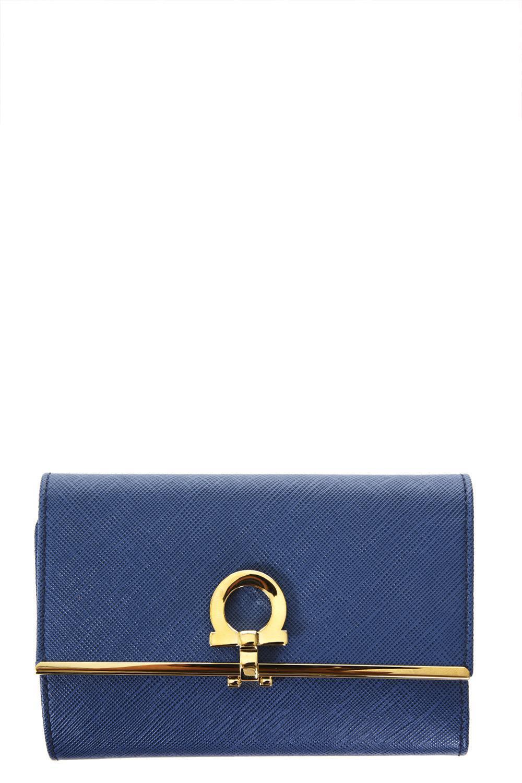 Salvatore Ferragamo Saffiano Leather Wallet In Blu Stone