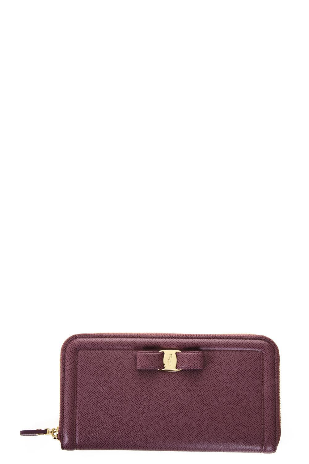 Salvatore Ferragamo Pebbled Leather Wallet In Mauve