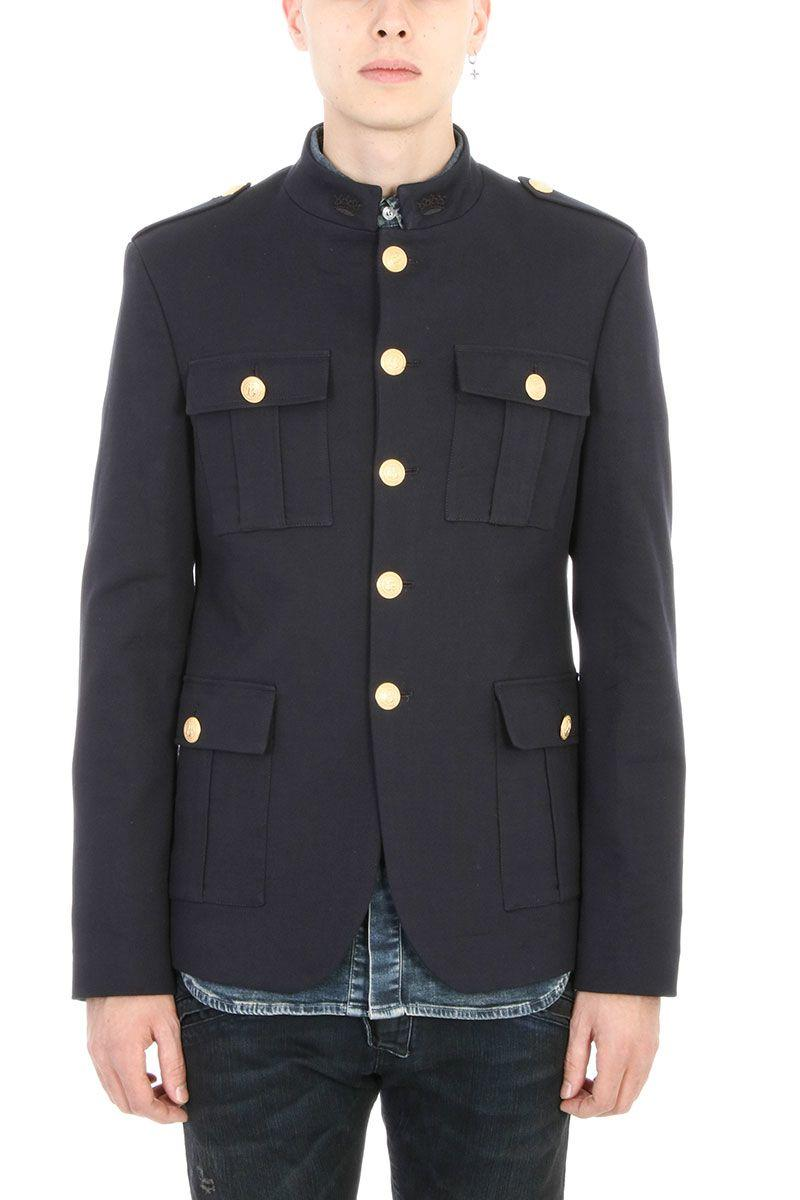 Pierre Balmain Military Blue Wool Jackets. Frontal Closing With Golden Buttons