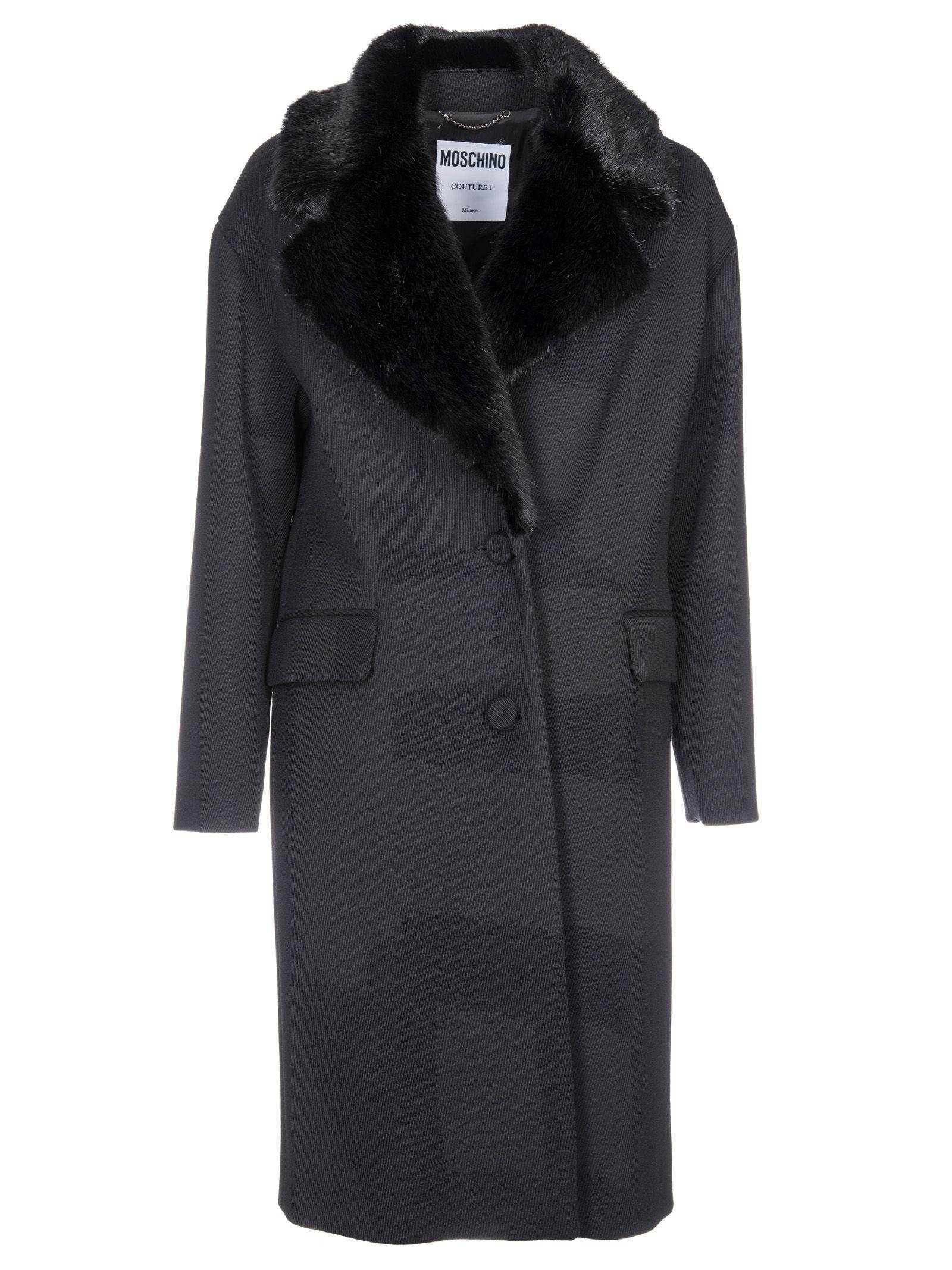 Moschino Fur Collar Coat In Black