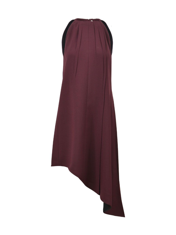 Celine Burgundy Tunic Dress In Bordeaux