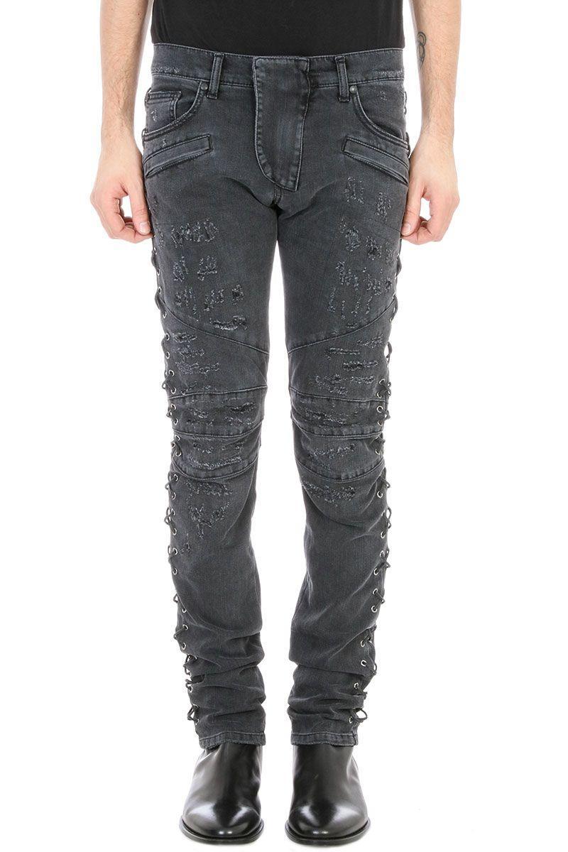Pierre Balmain Black Denim Biker Jeans