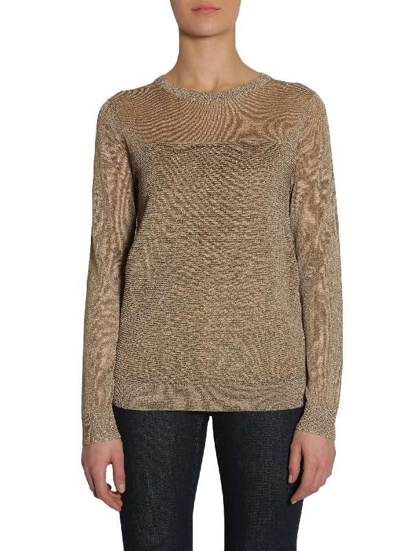 Michael Michael Kors Round Collar Sweater In Gold