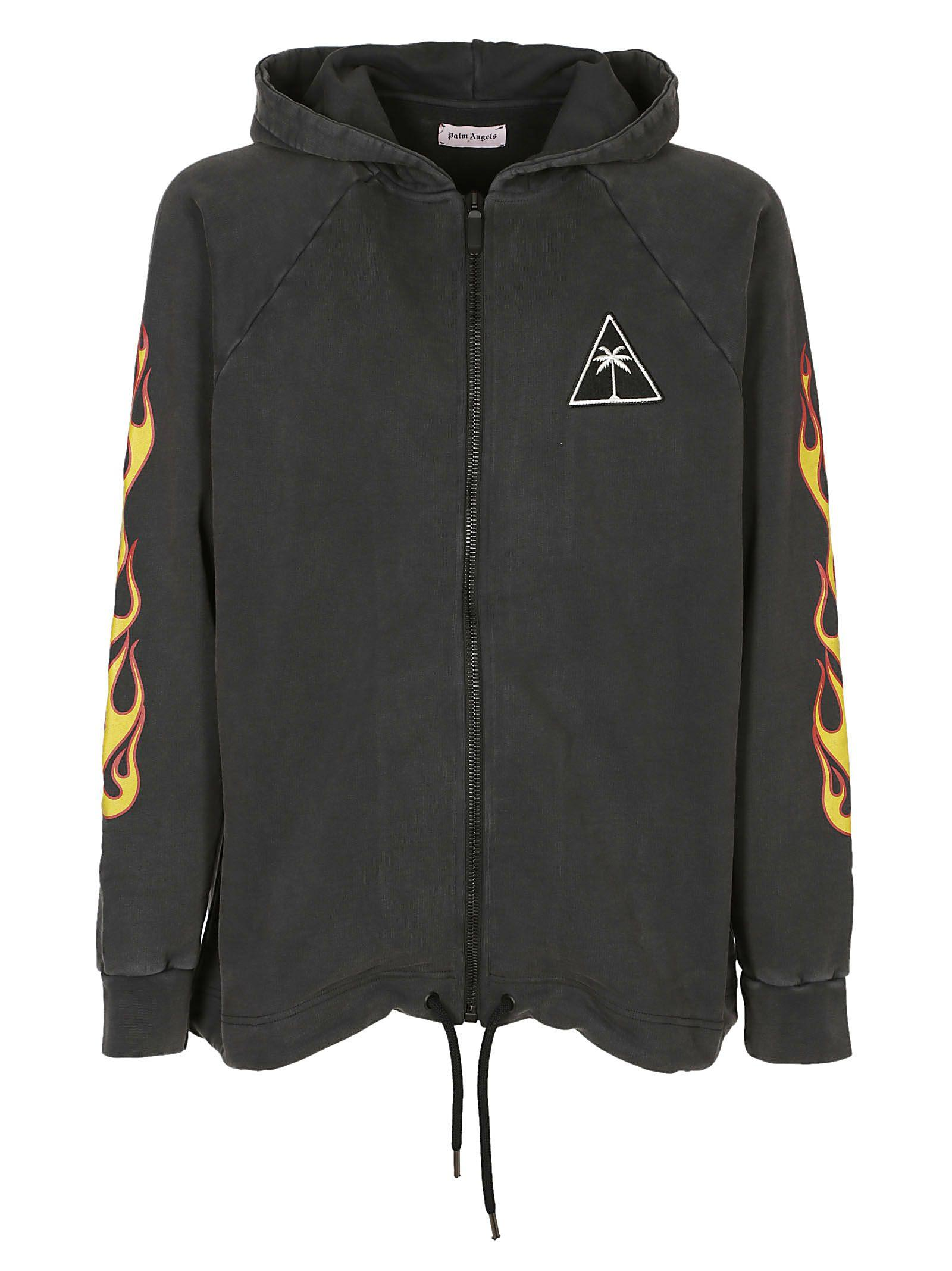 Palm Angels Over Palms And Flames Hoodie In Black Multi