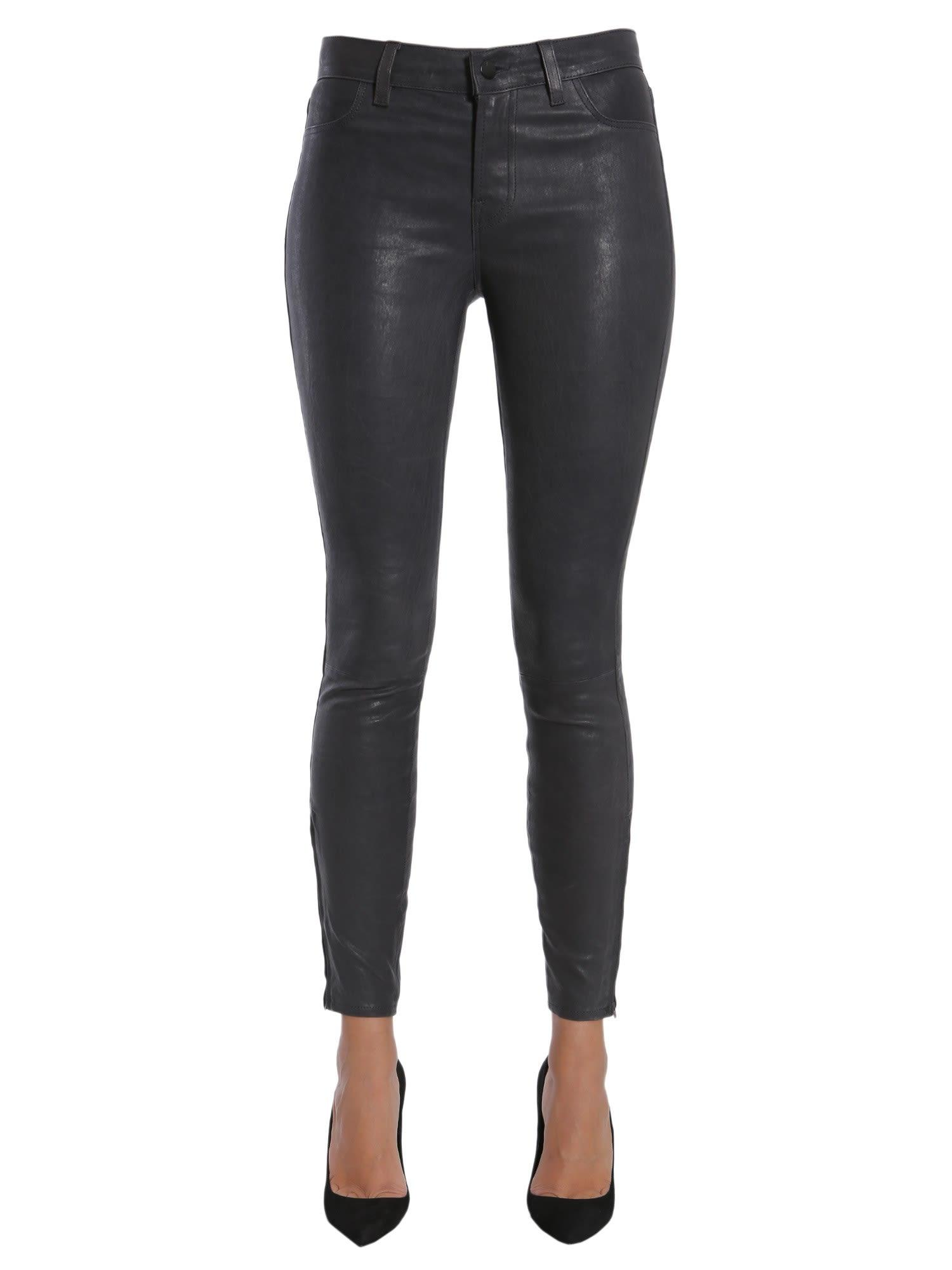 J Brand Leather Trousers In Nero