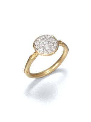John Hardy Bamboo Diamond & 18K Yellow Gold Small Round Ring