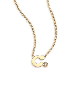 ZoË Chicco Diamond & 14K Yellow Gold Initial Pendant Necklace In C