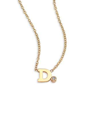 ZoË Chicco Diamond & 14K Yellow Gold Initial Pendant Necklace